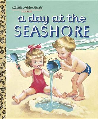 """A classic Little Golden Book with a summertime theme! Nancy and Timmy hop out of their beds one summer morning and help pack their swimsuits and lunch. And then it's off to the seashore! In a charming rhyme, this Little Golden Book from 1951 (then titled A Day at the Beach) describes what preschoolers will find there: """"You can catch little crabs if you're quick! You can draw great big pictures right on the beach with a piece of a shell or a stick"""". Oh, what fun! From Kathryn and Byron..."""