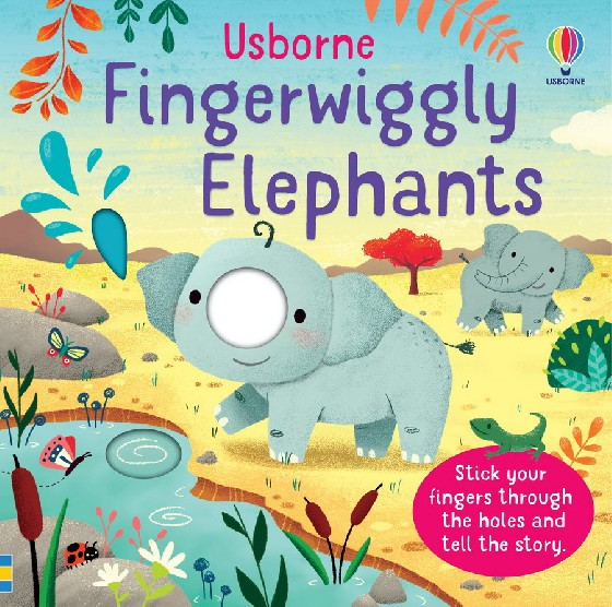 Little children and their grown-ups can poke their fingers through the holes to become the trunks of Big Elephant and Baby Elephant and tell a simple story. Baby Elephant learns to reach for leaves, suck up and squirt water, then takes a walk through the grassland before joining the rest of the family at the end of the day for a big elephant cuddle.